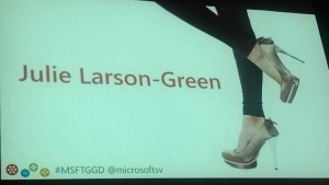 The introduction slide was an appropriate nod to Julie's love of heels