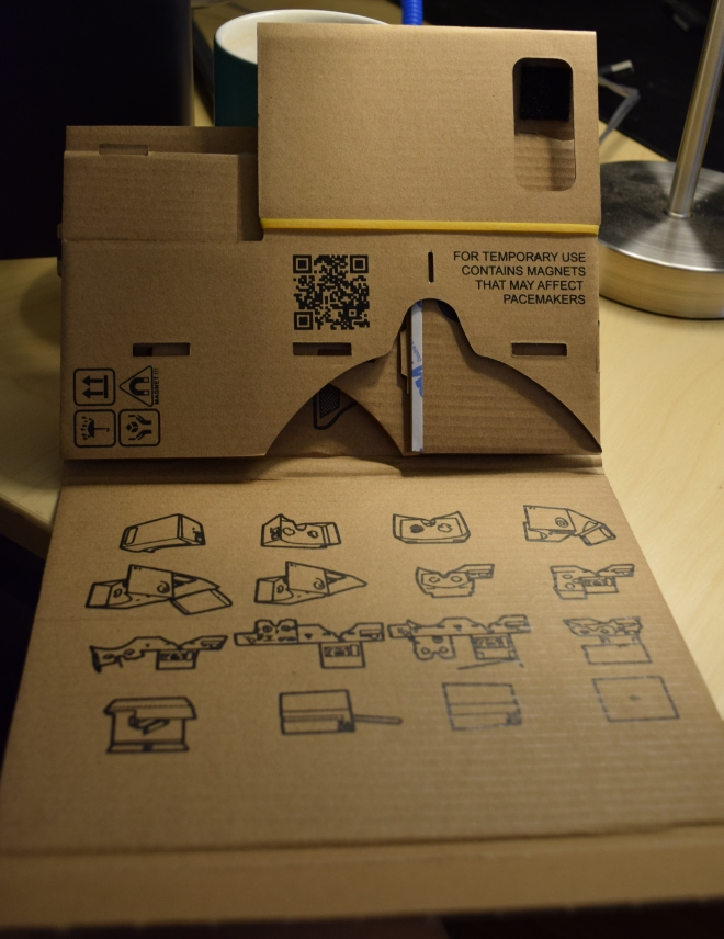 The uncompleted Cardboard viewer and instructions