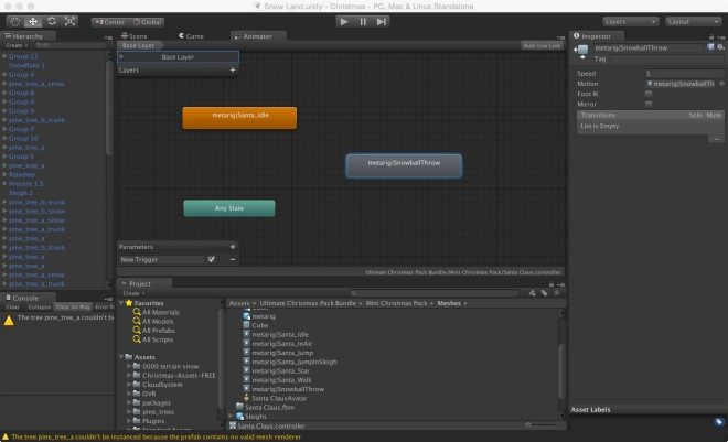 The Animator with snowball animation state added